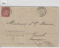 1872 Helvetia Helvtie 38/30 10c Weisses Papier - Stempel: Fleurier - Comptoir D'escompte Du Val De Travers 23.XII.72 - Briefe U. Dokumente