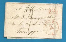 (R175) Belgique - Précurseur - LSC De HALLE à TOURNEPPE Du 11/4/1843 + Càd + CA En Rouge - 1830-1849 (Belgique Indépendante)
