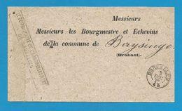 (R177) Belgique - Bandelette Pour Imprimés - De BRUXELLES à BUYSINGEN - Petit Càd Du 3/12/1872 - Marcophilie