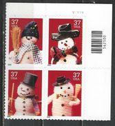 USA. Scott # 3676-79a, MNH Plate Block Of 4. Christmas Snowman  2002 - Números De Placas