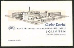 AK Solingen, Rasierklingen- Und Rasiermesser-Fabrik, Gebr. Korte - Solingen
