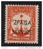 PAKISTAN 1961 - 2 Paisa Surcharged On SERVICE Overprint On 3 Pies Scale Of Justice, MNH - Pakistan
