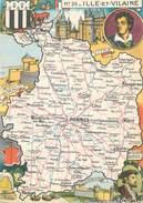 """/ CPSM FRANCE 35 """"Ille Et Vialine"""" / CARTE  GEOGRAPHIQUE - France"""