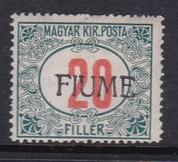 Fiume Postage Due  Stamps  J11 1918 20f Green And Red ,mint Hinged - 8. WW I Occupation