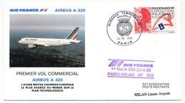 FRANCE - 2 Env - Premier Vol Airbus A 320 Paris => Milan Et Retour - 23/4/1988 - First Flight Covers