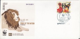 India  2011  WWF  Asiatic Lion   Special Cover  AS PER SCAN   #  96259    Inde Indien - W.W.F.