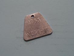 Belasting Op HONDEN West Vlaanderen 1963 ( TOKEN For Dog / Chien TAX / For Detail, Zie/see Photo ) ! - Unclassified