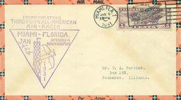 USA Pli Aérien MEETING MIAMI 9 Janvier 1931 Tb . - 1c. 1918-1940 Cartas