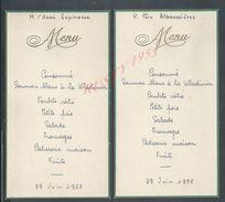 LOT ANCIEN MENU DE 1958 M. L ABBÉ ESPINAGE + R. PERE ALBOUSSIERES : - Menus