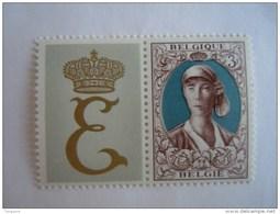 België Belgique Belgium 1966 Koning Reine Elisabeth Met Vignet YV COB 1363 MNH ** - Bélgica