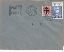 LETTRE. PARIS LIBERE. POSTE SPECIALE FFI. J D F .  26 8 1944 - Liberation