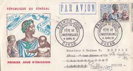 LETTRE FDC SENEGAL INDEPENDANCE. PAR AVION.DAKAR POR GENEVE SUISSE REDIRIGEE PRILLY PAR CELIONY. 2 TIMBRES AU VERSO - Senegal (1960-...)