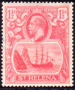 ST HELENA 1923 SG #99 1½d MLH Rose-red Scratch On King's Neck - Isola Di Sant'Elena
