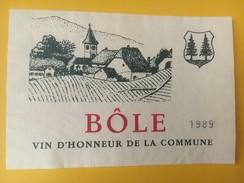 4528 - Bôle Vin D'honneur De La Commune 1989 Neuchâtel Suisse - Etiquettes