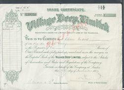 ACTION LONDON 1919 SHARE CERTICICATE VILLAGE DEEP LIMITED TRANSVAAL : - Acciones & Títulos