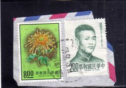 TAIWAN FORMOSA REPUBLIC OF CHINA CINA 1974 FLORA FLOWERS Chrysanthemum 8$ 1975 Sha Shih-chiun 2$ USATO USED OBLITERE' - 1945-... Republik China