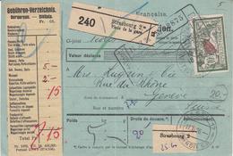 BULLETIN D'EXPEDITION D'un Colis De STRASBOURG Place De La Gare Du 16.11.26 Adressé à Genève - Elzas-Lotharingen
