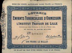 SANTE - Billet De Loterie Des Enfants Tuberculeux D'ORMESSON - Institut Pasteur De LILLE - Billets De Loterie