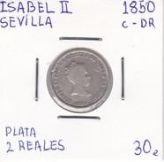 MONEDA DE ESPAÑA DE ISABEL II DEL AÑO 1850 DE 2 REALES DE PLATA (COIN) SEVILLA - [ 1] …-1931 : Reino