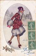 CPA Femme Lady Women Glamour Bonne Année Sous La Neige Illustrateur X. SAGER - Sager, Xavier