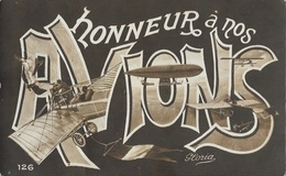 Honneur à Nos Avions - Multivues Dans Les Lettres: Dirigeable, Aéroplanes... Carte Gloria N° 126 Non Circulée - Patriottisch