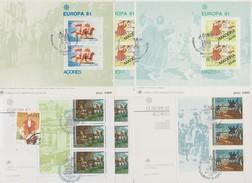 Açores Et Madère 1981, 1982, 1985. Petit Lot De Timbre Et Blocs Europa Oblitérés. Cote +/- 30 € - Unclassified