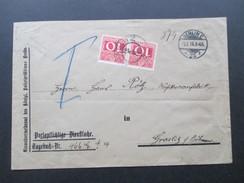 DR / Österreich 1914 Berlin - Graslitz In Böhmen Portomarke Nr. 38 MeF Paar. Der Polizei Präsident Berlin. Dienstpost - 1850-1918 Imperium