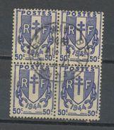 """FRANCE - CHAINES BRISÉES - N° Yvert 673 BLOC DE 4 Belle Obliteration Ronde De """"BOURG EN BRESSE """" De 1950? - France"""