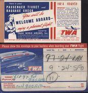 Billet Avion Embarquement Etats-Unis Pittsburg à Oakland Via San Francisco Trans World Airlines TWA Flight Avec Pochette - Plane