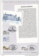 """FRANCE 1994 : DPO 1er Jour """" FRANCE / BELGIQUE / SUISSE : GEORGES SIMENON """" N° YT 2911 + BEL 2579 + SUI 1463 ... - Emissions Communes"""