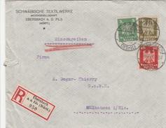 Allemagne Lettre Recommandée Ebersbach Pour L'Alsace 1925 - Cartas