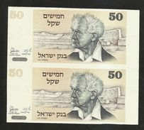 Uncut Banknotes - ISRAEL - BANK Of ISRAEL - 50 Sheqel (1978) - Israele
