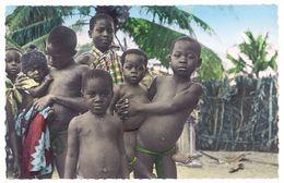 Cpsm Côte D'Ivoire - Abidjan - Un Groupe D'enfants De Pêcheurs - Côte-d'Ivoire