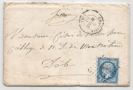 - Lettre - ISERE - CHAUSSIN - PC.831 S/TPND Type Napoléon III N°14 + Càd Type 15 - 1861 - 1853-1860 Napoleon III