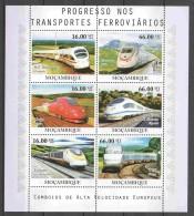 Mocambique 2010 Kleinbogen Mi 4186-4191 MNH TRAINS - Treni