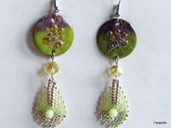Boucles D'oreilles émaux Sur Cuivre Vert Violet Et Goutte Tissée En Miyuki Delicas  Des Merveilles Réalisées Par Deux Ar - Earrings
