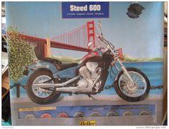 Kit314  MOTO MAQUETTE PLASTIQUE ECHELLE 1/12e HELLER HONDA STEED 600 VLX  , Complète Et Non Commencée , 138 Pièces Avec - Motorcycles