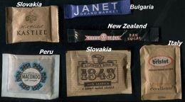 12 PARTIA-Lot MIX (New Zealand, Slovakia, Italy, Bulgaria) Sugar-Zucker-Sucre-Azucar 6 Pcs Mint - Sugars