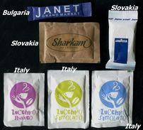 13 PARTIA-Lot MIX (Slovakia, Italy, Bulgaria) Sugar-Zucker-Sucre-Azucar 6 Pcs Mint - Zucchero (bustine)