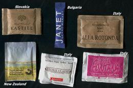 19 PARTIA-Lot MIX (Italy, Bulgaria, Slovakia, New Zealand) Sugar-Zucker-Sucre-Azucar 6 Pcs Mint - Suiker