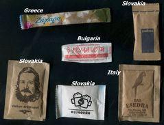 24 PARTIA-Lot MIX (Italy, Bulgaria, Slovakia,  Greece) Sugar-Zucker-Sucre-Azucar 6 Pcs Mint - Suiker