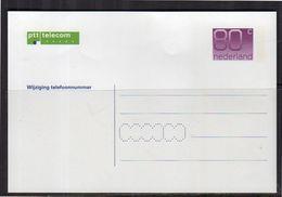Change Of Telephone Number Geuz. # 4 Mint (bx29b) - Postal Stationery