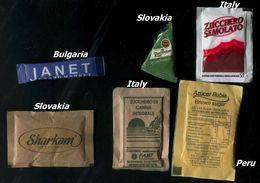 25 PARTIA-Lot MIX (Italy, Bulgaria, Slovakia, Peru) Sugar-Zucker-Sucre-Azucar 6 Pcs Mint - Zucchero (bustine)