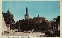 Carte Postale Colorisée  (52)    SAVIGNY  -  Place De L'Eglise - France