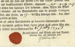 WÜRTTEMBERG – PASS - Schloss Hohenmühringen HORB AM NECKAR 1796 - Documenti Storici