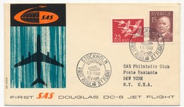 SUEDE - Premier Vol SAS Douglas DC 8 Jet Fligt SCANDINAVIA => NEW YORK - STOCKHOLM 1/5/1960 - Briefe U. Dokumente