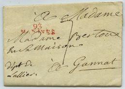 LàC Territoires Conquis Dép. 93 Malines 1806 Pour Mme Foucher-Bertoux à Gannat (Allier). Taxe 7 Décimes. - Marcophilie (Lettres)