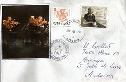 Compositeur Lituanien Juliui Juzeliūnui, Sur Lettre Adressée ANDORRA, Avec Timbre à Date Arrivée - Lithuania