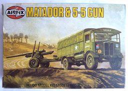 RARE MAQUETTE AIRFIX BOITE MATADOR & 5-5 GUN 1981 FIGURINE WWII - Figurines