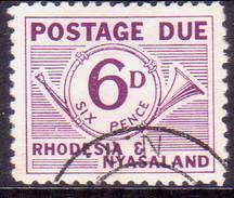 RHODESIA & NYASALAND 1961 SG #D4 6d Postage Due Used - Rhodesia & Nyasaland (1954-1963)